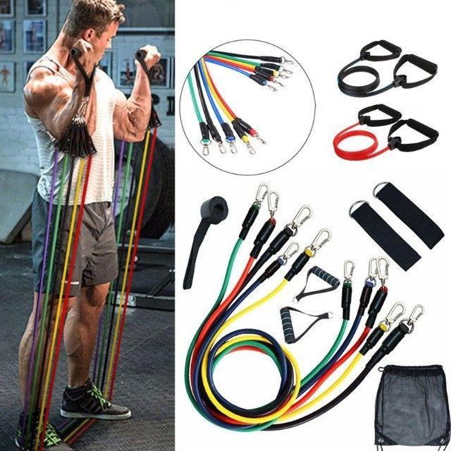 11Pç Kit de Faixa de Resistência Elástica p/Ioga/Treino Fitness