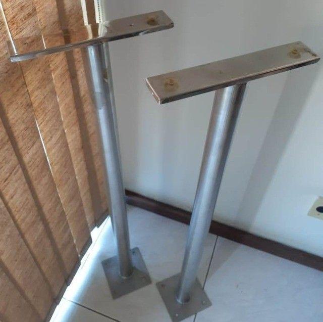 Suporte para bancada de apoio (balção) Inox 304 altura 1m, diametro do tubo 50mm - par