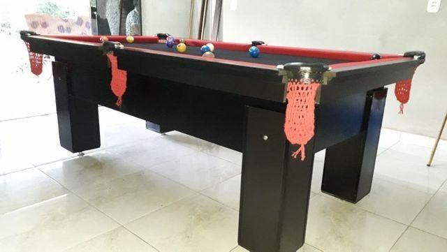 Mesa de Bilhar Preta TX Tecido Preto Bordas Vermelhas 2,20 x 1,20 Redinha Vermelhas - Foto 4