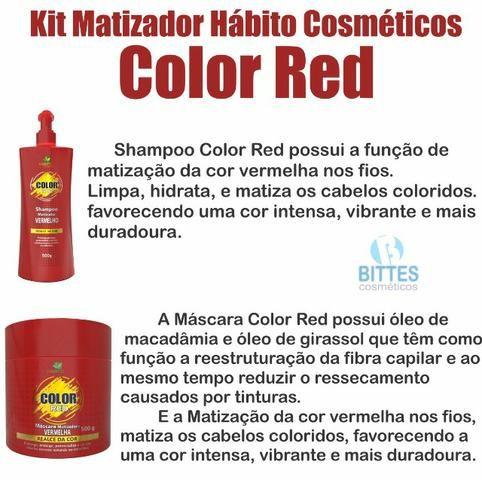 Red Color Matizador Vermelho 500 g o Kit Hábito Cosmeticos - Foto 3