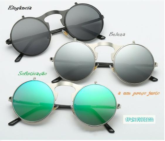 c5b6177f01f4b Óculos De Sol Redondo Lentes Duplas Várias Cores Proteção UVA UVB 400