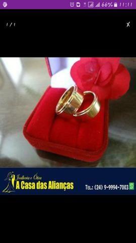 Alianças ouro 18 kilates _ A Casa das juntasAlianças BR - Foto 2