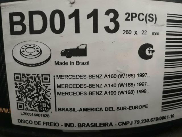 Disca de freio dianteiro ventilado mercedes Benz classe A 160/190