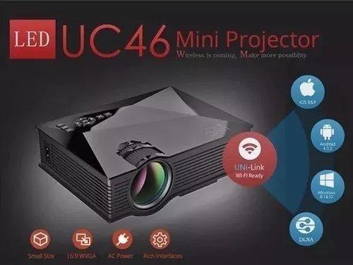 Mini Projetor Uc46 Hdmi 130 Polegadas
