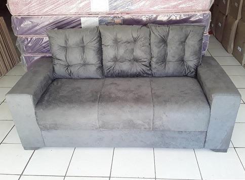 Peça Hoje e Receba No Mesmo Dia Lindo Sofa 3 Lugares Com Almofadas Novo Apenas 479,00 - Foto 3
