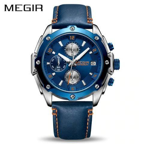 Relógio Masculino Megir 2074 Azul Couro Militar Redondo