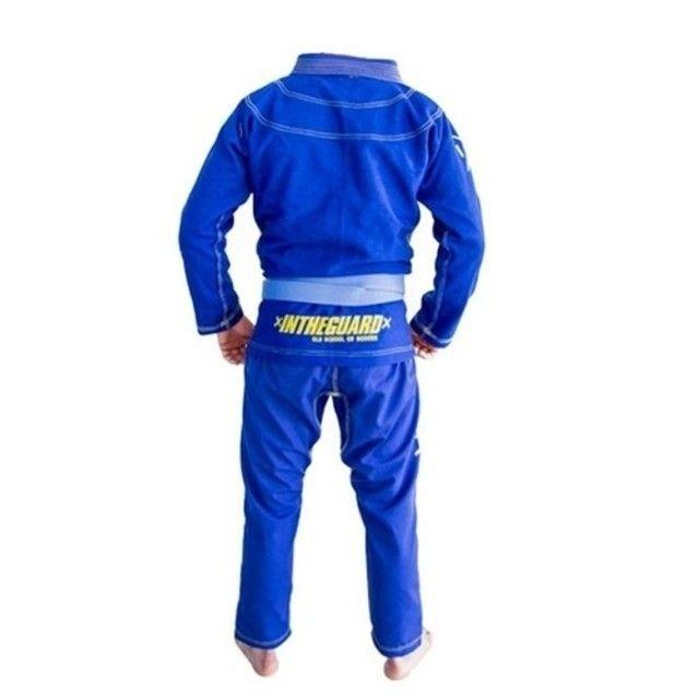 Kimono A3 Jiu Jitsu, Marca In the Guard azul, trançado semi-novo  - Foto 3