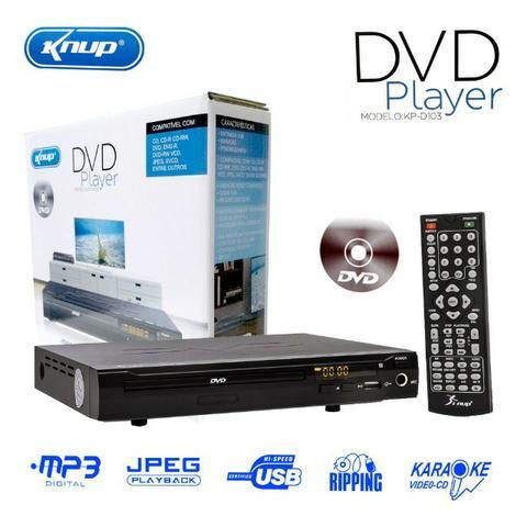 Aparelho DVD Player Rca 2.0 Canais USB Mp3 Cd Ripping Karaoke Knup Preto KP-D103 Bivolt
