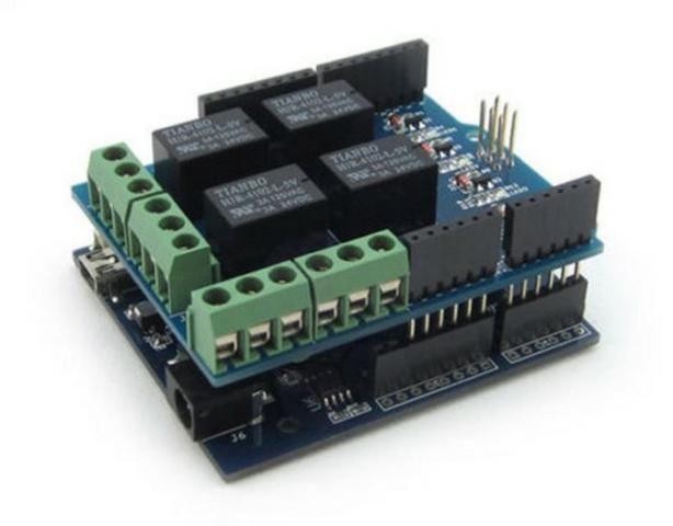 COD-AM182  Modulo Shield Com Relé Com Relé 4 Canais Arduino Automação Robotica