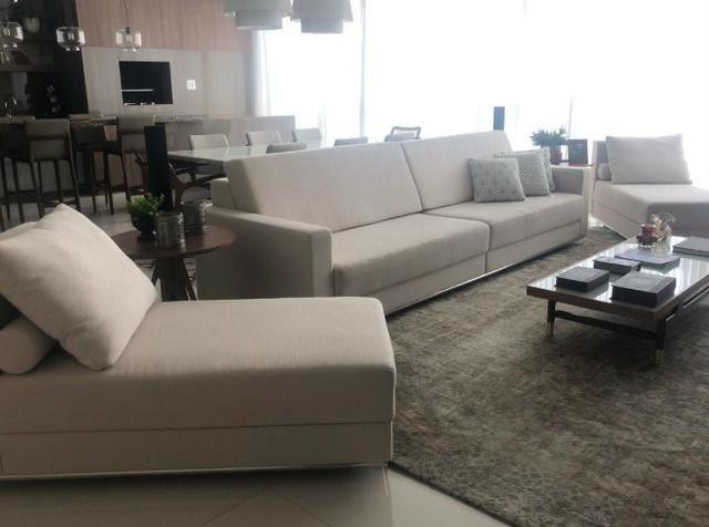 Sofá + chaises novo - tecido: linho / Cor: marfim