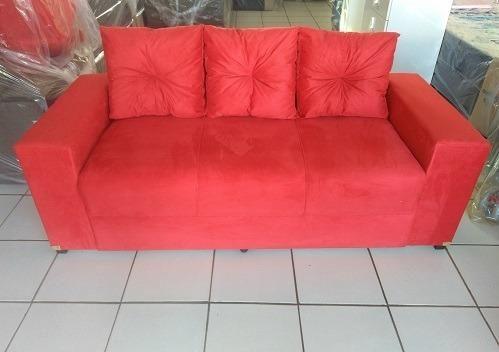 Peça Hoje e Receba No Mesmo Dia Lindo Sofa 3 Lugares Com Almofadas Novo Apenas 479,00 - Foto 2