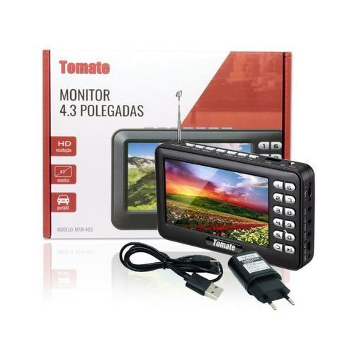 Tv Digital Portátil Hd Tela 4.3 Monitor Mtm-403 Tomate Usb Sd Rádio Fm Bateria Microfone