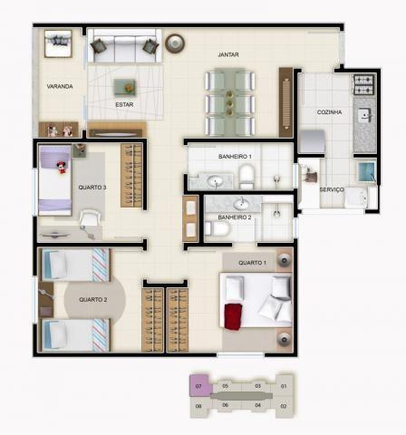 Apartamento à venda com 3 dormitórios em Caiçara, Belo horizonte cod:39851 - Foto 6