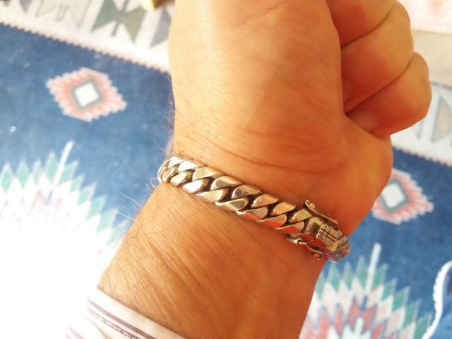 Pulseira bracelete Prata Andina Masculina - Foto 5