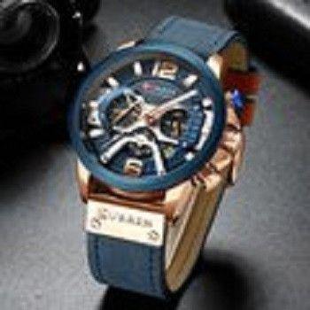 Relógio de pulso esportivo casual masculino, azul, feito de couro, marca top de luxo - Foto 5