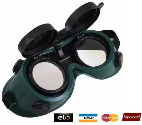 Óculos De Segurança P/ Soldador Lentes Dupla Articuláveis - entrega grátis