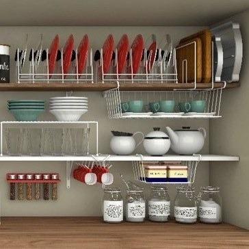Organizador para armário cozinha 8 pçs Branco - Novo