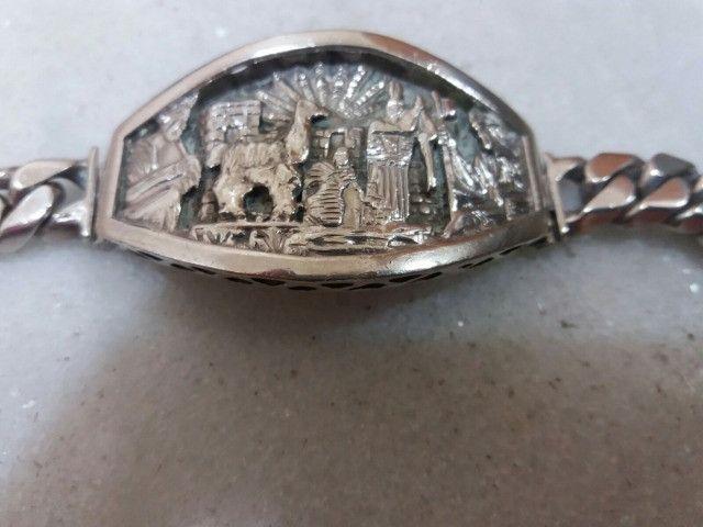 Pulseira bracelete Prata Andina Masculina - Foto 3
