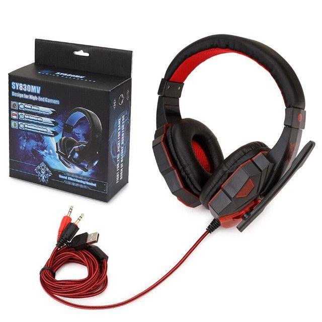 Fone Ouvido Headset Gamer vermelho - Foto 6