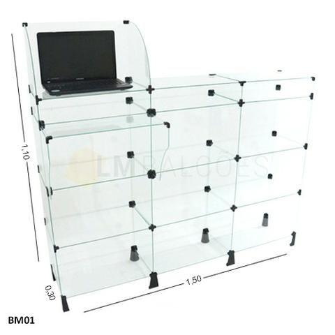 Balcão caixa de vidro 1,50 x 1,10 x 0,30 frete gratis SP