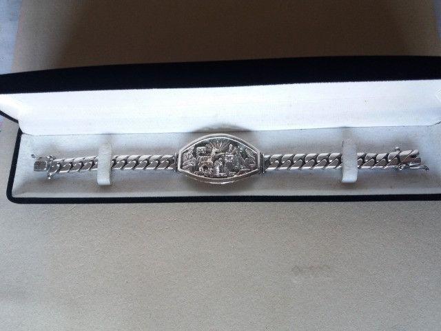 Pulseira bracelete Prata Andina Masculina - Foto 4