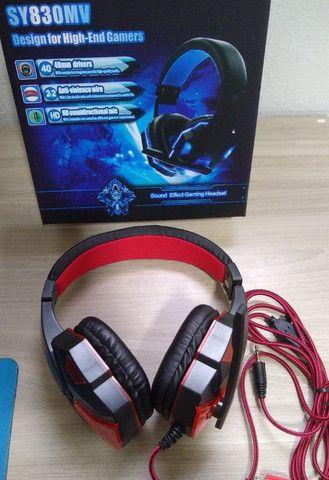Fone Ouvido Headset Gamer vermelho - Foto 2