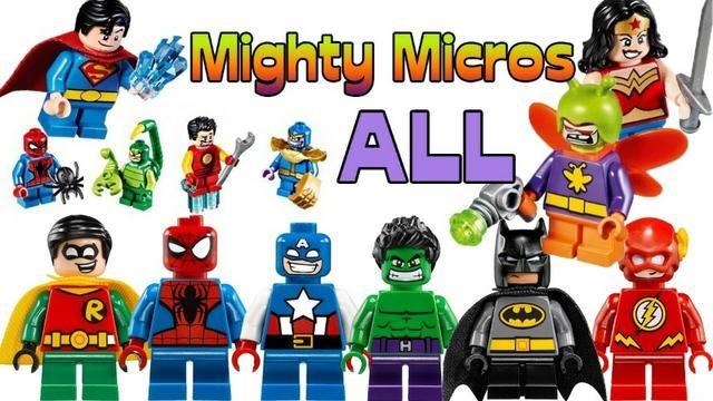 Blocos para montar lego varios tamanhos e personagens na caixa