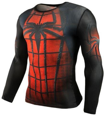 Camisa Compressão musculação Herois Batman Spider Super Homen Pantera Negra Invernal 3D - Foto 5