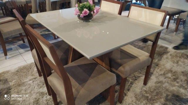 Mesa de madeira maciça retangular de 4  - Foto 2