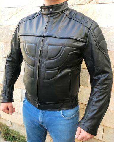 Jaqueta Masculina de Couro Motociclista 019