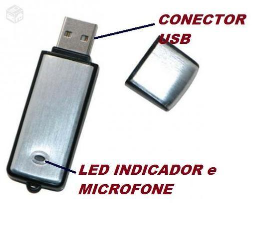 74519f32f Micro Gravador Voz Audio Espiao Spy Pen Drive 8gb Oculto Usb - Áudio ...