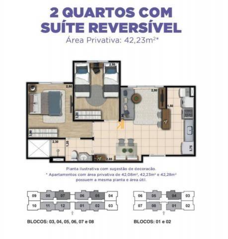 Apartamento com 2 dormitórios sendo 1 suíte reversível à venda, 42 m² por R$ 143.635 - Tam - Foto 13