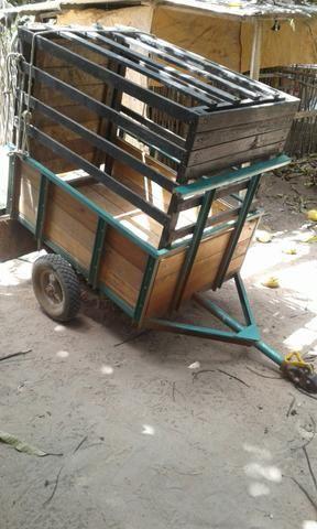 Reboque para moto bem reforçado com gaiola para carregar animais
