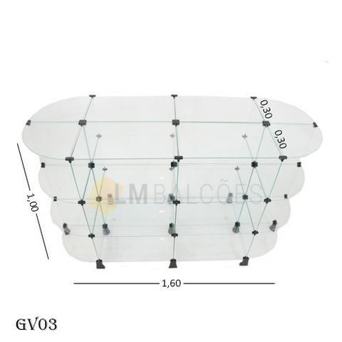 Gondola central de vidro 1,60 x 1,00 x 0,30 frete gratis SP