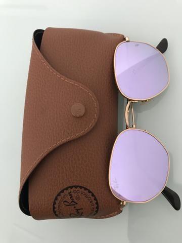 17003f9e7366c Óculos Ray Ban Hexagonal lilás original - Bijouterias