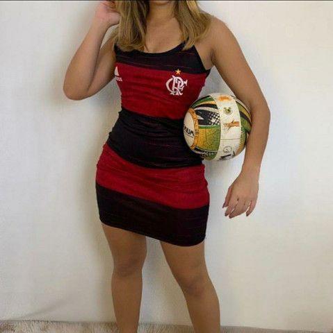 Camisa Flamengo Adulto Infantil Feminina e Vestido - Foto 5