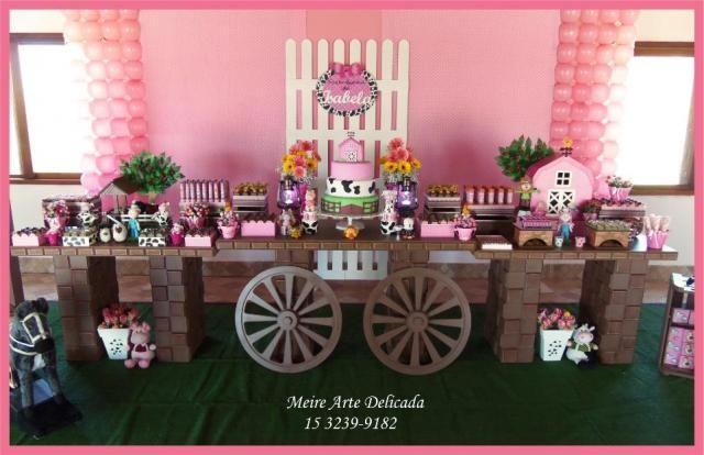 decoracao festa rustica:Decoração Rústica da Fazendinha Rosa em Sorocaba – Serviços