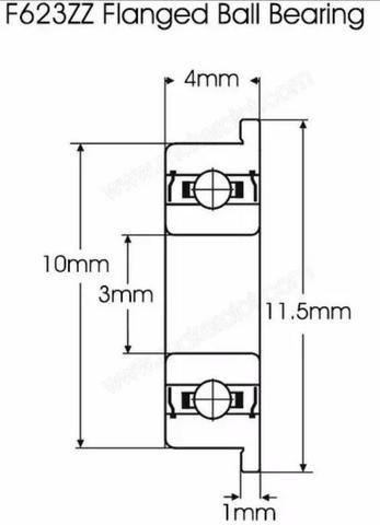 COD-CP205 2 Rolamentos Com Flange F623zz Impressora 3d Hypercube Delta - Foto 2