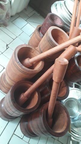 Pilão de madeira rústica - Foto 2