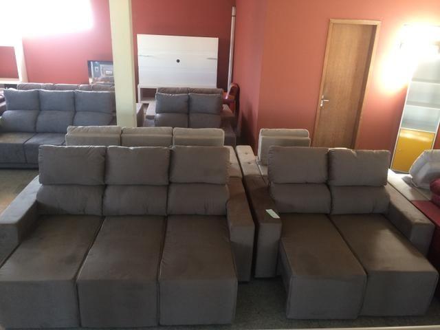 Sofá conjunto 3 e 2 lugares retratil e reclinável