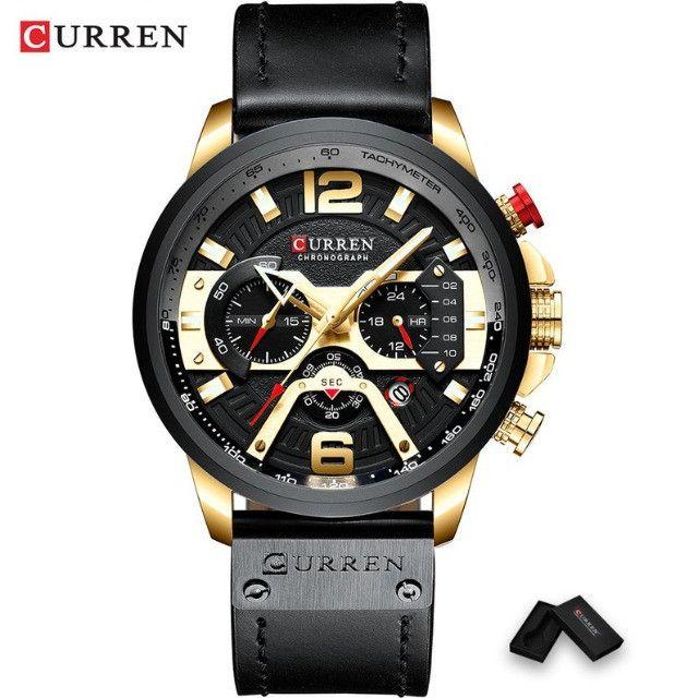 Relógio de pulso esportivo casual masculino, azul, feito de couro, marca top de luxo - Foto 2