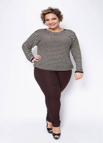 Blusa de Tricô Feminina Luciana - Tamanho GG - Linha Plus Size