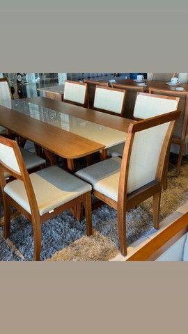Mesa de madeira maciça de 8 lugares nova completa  - Foto 4