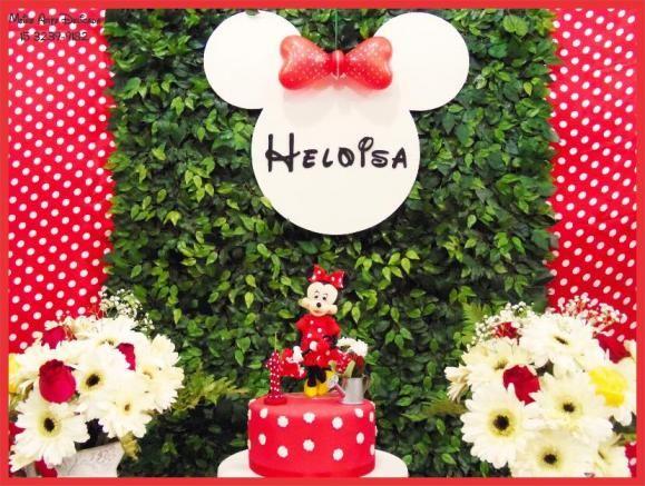 Decoração de festa infantil Clean e Provençal da Minnie Vermelha em