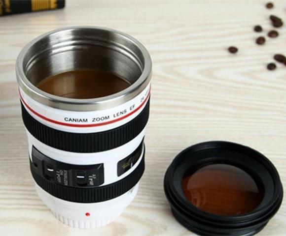 Caneca de Café Design Capa de Lente Imitação de Câmera de Plástico com inox