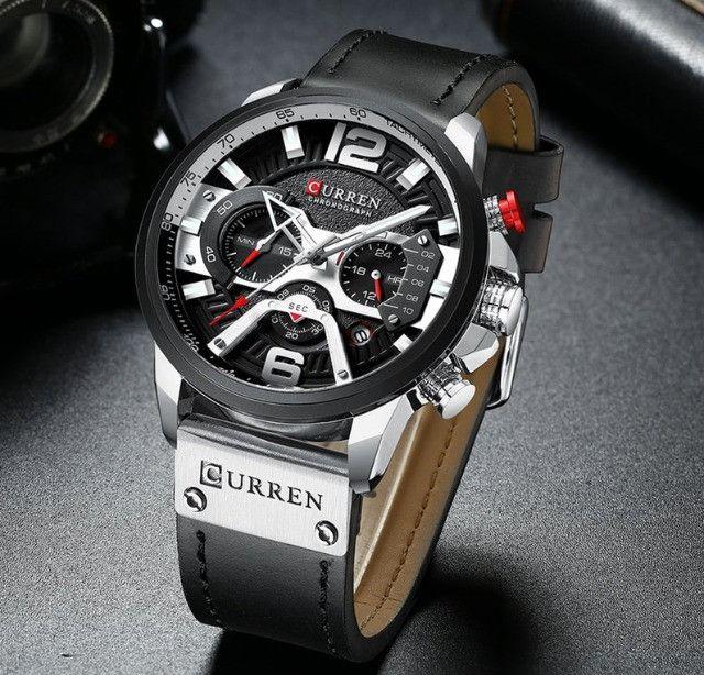 Relógio de pulso esportivo casual masculino, azul, feito de couro, marca top de luxo