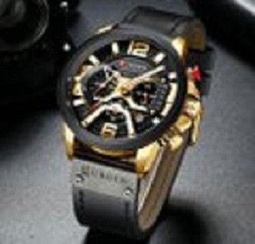 Relógio de pulso esportivo casual masculino, azul, feito de couro, marca top de luxo - Foto 4