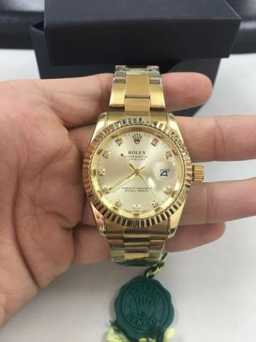 a9e46fcffbc Relogio Rolex Datejust Dourado Prata Gold Azul - Bijouterias ...
