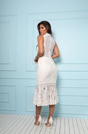 Vestido Midi De Renda Branco