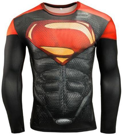 Camisa Compressão musculação Herois Batman Spider Super Homen Pantera Negra Invernal 3D - Foto 2
